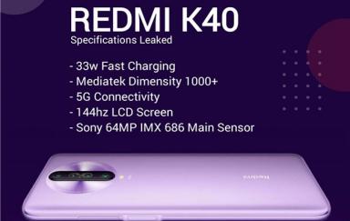 Redmi K40配置曝光  搭载联发科天玑1000+处理器