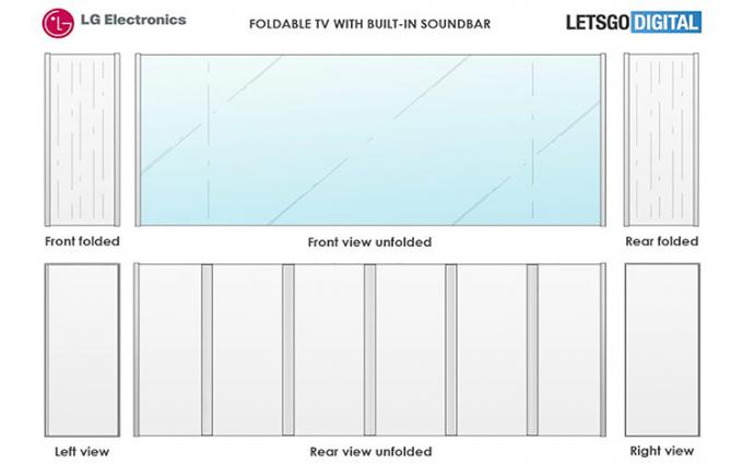 内置条形音箱 LG可折叠电视设计专利曝光