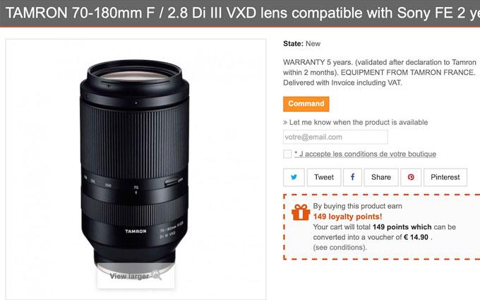 传言腾龙本周发布70-180mm f/2.8 售价137500日元