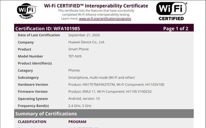 华为折叠屏Mate X2获得Wi-Fi认证 ,海思Hi1105芯片,支持WiFi 6