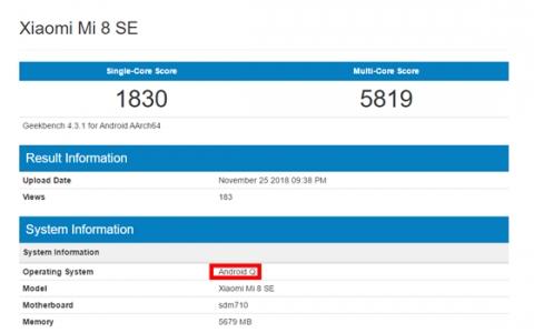Android P还未普及,小米8 SE就已经开始测试下一代的Android Q了